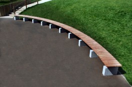 The Sheldon Bench SBN307 is a custom curved benching solution to fit seamlessly to areas with curved landscapes. The vertically slatted timber or recycled bench top bench top can be made to any length or radius and the plinth mounted framework is a great choic...