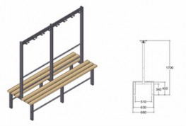 Ash wood slats complemented by a dark grey nylon coated galvanized steel framework and coat hooks. Available with 3 slats on either side in a range of lengths; 1300 mm 1800 mm and 2500 mm and can be cut to size and finished on site for maximum flexibility....
