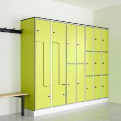 Protec lockers are a flexible and secure locker system with a strong aluminium carcass and SGL doors making the whole system totally water resistant. Bushboard offer any combination of the six locker models with a choice of 4 locking mechanisms to suit install...