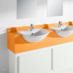 Semi Recessed Vanity Unit Solid Surface image