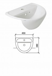 Sola Optimise Semi Recessed 1 Tap Hole Vanity Basin image