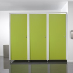 A contemporary and streamlined toilet cubicle design featuring slender aluminium pilasters that are connected and reinforced by a single aluminium headrail to deliver minimalist style, making it perfect for office washrooms....