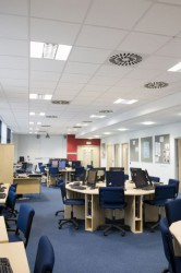 For applications requiring an easy installed suspended ceiling meeting the essential functional demands. Ecophon Advantage A has an exposed grid system and each tile is individually demountable for easy access to soffit above. The system consists of Ecophon Ad...