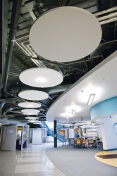Ecophon Solo Circle is an acoustic solution, primarily when it is not possible to install a wall-to-wall ceiling. Solo Circle is suitable in buildings where the room volume could be maintained or as an option when TABS (Thermally Activated Building System) is ...