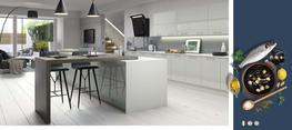 Vivo Gloss Light Grey Kitchen - Elite Trade and Contract Kitchens Ltd