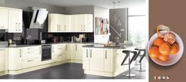 Lusso Cream High Gloss Kitchen - Elite Trade and Contract Kitchens Ltd