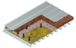 Metal profiled sheet roof covering system: - Aluminium Kalzip 65/400 - Kalzip Insulation Plus 40 - E180 Clips - S10 Spacer - Kalzip VCL Clear - Kalzip Acoustic Slab TF - Top Hat Sub Purlin - Web Preforated Steel Kalzip Structural Deck...
