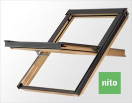The NITO collection is a range of central pivot roof windows with special slimline wooden profile equipped with a ventilation valve which allows comfort and added value for all budgets. It can be installed in a roof pitch from 15 to 90 degrees.