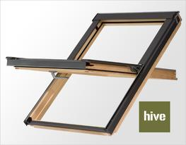 The HIVE collection is a range of central pivot roof windows with an elegant handle that enables passive ventilation in two different secondary locking positions. Hive windows can be installed in a roof pitch from 15 to 90 degrees.