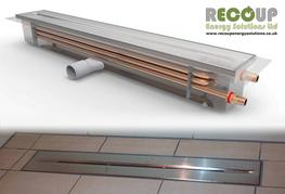 """Building a wet room or have access issues? The Recoup Drain+ provides a great WWHRS option. Finished in stainless steel, a """"double walled"""" exchanger, and offering 50% efficiencies. This is a must have system for leisure clubs, gyms, nursing homes, holiday park..."""