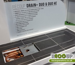 The Recoup Drain+Duo HE offers our incredible shower heat recovery technology in a WWHRS integrated wet-room drain / channel system. A true design focal point, with market-leading energy efficiency of up to 57.3%.