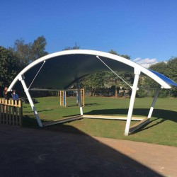 Barrel Vault Arched Tensile Fabric Shade Structure - Darwin Curved Waterproof Canopy Installed image