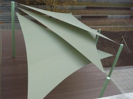 The Albany shade structure consists of 3 overlapping triangle shade sails engineered to your requirements, manufactured from six galvanised posts of varying heights enables the fabric to be formed into a eye-catching shapes, ensuring maximum shade and preventi...