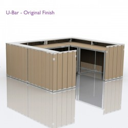 The U-Bar has the potential to be configured into a multitude of different settings. The wood can be branded and also comes in two different finishes, original and white. 
