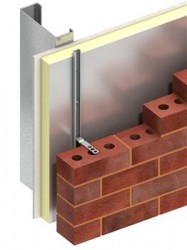 Channel and tie system for connecting masonry cladding to steel stud framing through insulation board....