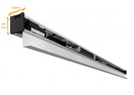 The EvoDrive is a compact sliding door track (just 60mm high x 65mm deep) equipped with magnetic linear motor technology developed by MOTION4, which has been designed for the automation of interior automatic sliding doors, and with the operator fixed front mounted to a wall. It combines the small size and discreet look of a manual track with the performance of a conventional automatic door operator.