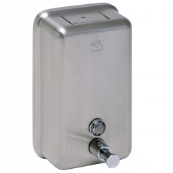 Stainless Steel Vertical Soap Dispenser: - Quality stainless steel construction - Satin or polished finish available - Bulk fill – 1200ml capacity - Lockable - Ideal for confined spaces, for example: between basin and mirror -  Projection to soap spout is 11...