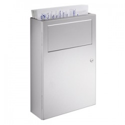 Prestige Sanitary Bin: - Superior quality and timeless design for prestigious washrooms - Easy-care 18/10 chrome nickel stainless steel - Satin finish, welded corners - no sharp edges - Lockable sanitary bin - Waste towels disposed of through a self-closing, f...
