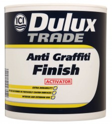 Dulux Trade Anti-Graffiti Paint Finish is part 3 of a complete 3 part system comprising of a sealer, primer and finish. It is a high performance water-based paint that is resistant to repeated washing, steam cleaning and solvent cleaning. Up to 10m² per litre...