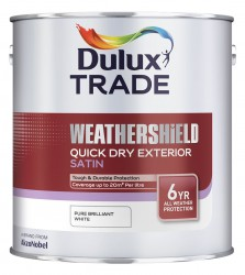 A water-based, mid-sheen finish which is part of a paint system specifically developed to give long lasting protection for exterior wood. Tests show that Weathershield Quick Dry Exterior Satin system will provide extensive protection for up to six years if cor...
