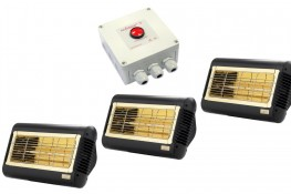 Low Glare Equestrian Heaters 3 Pack + Push Button Timer | Save £50! image