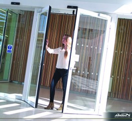 "True to our ""three-in-one door"" function concept, our automatic sliding fire-safety door is, simultaneously, a convenient pedestrian-access/egress point, a flame-resistant fire door and a reliable emergency escape route...."