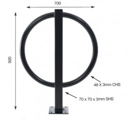 Bike stand ring with a larger hoop ensures that both front and rear wheels can be locked.  Available in Mild steel  This bike stand can help contribute towards gaining 2x ENE8 Cycle storage credits when used in the appropriate situation, under the Code for Sustainable Homes  Overground (boltdown) fixing or Underground (flanged) fixing.  Fixing dimensions: 700mm wide x 920mm tall (above ground). 48mm tube o/d diameter, 3mm wall thickness. Post 70x70x3mmSHS.  Approx weight: 13kg.  Cycle Stand Designs - Which stand do I choose?  The different designs allow the stand to be chosen to fit the environment. Stands with tapping bars such as the Theta stand allow for more security and prohibit locks being manoeuvred to the ground to be broken. Multiple locking points on stands such as the M Hoop stand, Tulip stand and Hoop post stand allow for the front and rear wheels to be locked separately. When space is at a premium such as town centre pavements, the Lollipop and Safe-T-Pin stands are ideal as they take up very little space. When aesthetics has to be a consideration, the simplicity of a Sheffield stand, O stand or Heavy Hoop stand can be favourable, or the elaborate design of the T-Love stand and Big Loop stand can help bring a fresh new look to an area.