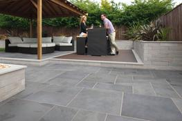 Stylish, oversized Brazilian Slate is available in three large format sizes to give a clean contemporary feel which blends flawlessly with any garden environment.  The three size options can be laid in a random pattern together or singularly to get an ultra contemporary patio with two colour option; Silver Grey and Black.  The garden paving is naturally split and hand selected to ensure a natural colour blend and smooth, gently riven surface.  Fairstone Slate Casarta Black is available in a 600 gauge 3 size project pack and part of the ethically sourced Fairstone range.