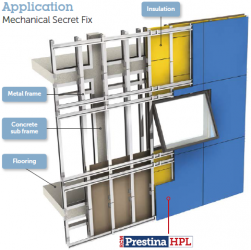 Prestina is a High Pressure multi-layer panel used in external and internal applications. Our Prestina product in used in many applications such as facades, balconies, cubicles and other interior applications. Prestina is tested to be installed as a fully ventilated rainscreen system and also suitable for all outdoor cladding applications.