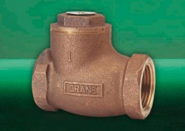 Check valves permit flow in one direction only, and close automatically if flow reverses. They are entirely automatic in action, depending upon pressure and velocity of flow within the line to perform their functions of opening and closing. The Crane D140 Bron...