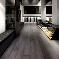 Dark Grey Engineered Wood Flooring Harlech Twilight Oak - Woodpecker Flooring