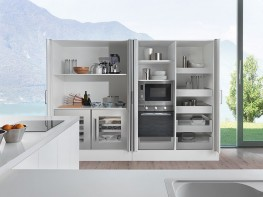 Doors on the Eclipse system pivot open like conventional cabinet doors but can then be pushed to slide into a pocket at the side of the cabinet. Eclipse is a pocket door system with an assisted soft-close door in and out mechanism. ,The design ensures smooth, ...