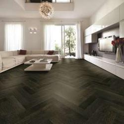 Herringbone – Oak Smoked & Black Stained, Brushed & UV Oiled Flooring TF30 image