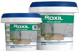 Roxil Patio Cream is a silicone cream emulsion that weatherproofs patios and paved surfaces for 10+ years with a single coat. The powerful cream bonds with the patio or paving slab surface and deposits a  locked-in  biocide that significantly reduces surface mould and algae growth.  The treatment does not change the natural appearance or texture of the patio or paving surface. It also stops the growth of ingrained lichens, making it possible to use non-destructive soft cleaning methods. As a result, a Roxil treated patio will require less maintenance and will last longer than an untreated patio.  Moss, lichen & Algae Growth Roxil Patio Cream prevents moss, lichen & algae growth Most patios start to look tired and unclean because moss, lichen and black algae begins to grow. Deep-rooted lichens in particular can be very difficult to remove.  Roxil Patio Cream penetrates into the patio or paving surface and forms a waterproof barrier whilst depositing a  locked-in  biocide that dramatically reduces biological growth. Any surface growth that does occur can be easily cleaned using Roxil Wood & Patio Cleaner.  Soft Washing for Longer Life Roxil Wood & Patio Cleaner helps to prevent surface erosion Porous patio and paving materials can become dirty very quickly due to ingrained dirt and biological growth. The stubborn nature of the ingrained dirt leads to the common use of pressure washers to clean patio and paving surfaces.  Pressure washing can cause significant damage to the surface of patio / paving slabs and can totally destroy the mortar joints between them. A Roxil treated patio or paved surface resists ingrained dirt and biological growth meaning it can be cleaned with the effective and non-destructive Roxil Wood & Patio Cleaner.  Retain Natural Appearance Roxil Patio Cream retains the natural appearance of the patio Traditional patio and paving preservers often dramatically alter the appearance of the surface that they are treating. Many competing products leave a sheen or  wet-look  that can be undesirable.  Roxil Patio Cream s unique formula creates an invisible waterproof barrier. There is no change to the texture or appearance of the treated patio / paving surface, ensuring that the natural beauty of the material is retained.