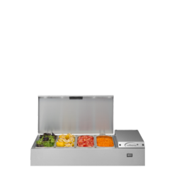 The TW9 is a refrigerated Prep Well, designed to accommodate 1/3 or 1/6 gastronorm pans. The versatile Thermowell can be wall mounted, free-standing or mounted on extendable legs. It's also designed with a hinged lid - to stay open during preparation....