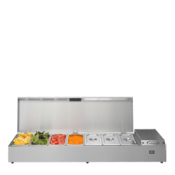 The TW15 is a refrigerated Prep Well, designed to accommodate 1/3 or 1/6 gastronorm pans. The versatile Thermowell can be wall mounted, free-standing or mounted on extendable legs. It's also designed with a hinged lid - to stay open during food preparation.