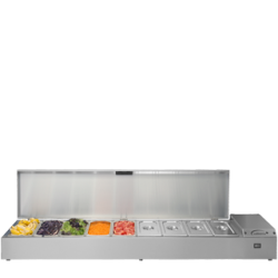 The TW18 is a refrigerated Prep Well, designed to accommodate 1/3 or 1/6 gastronorm pans. The versatile Thermowell can be wall mounted, free-standing or mounted on extendable legs. It's also designed with a hinged lid - to stay open during preparation....