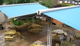 Awnings shade and shelter when you need it - and Parasols, Canopies and Exterior Roof Blinds With increasing emphasis on cutting carbon emissions, protecting ourselves against harmful emisssion UV rays and the desire to make the most of the available outdoor space, our awnings are available in a wide choice of durable, spun dyed woven acrylic fabrics that will control the amount of heat and light entering your property therefore creating a comfortable, pleasant environment. The fabrics will also eliminate glare, protect carpets and furniture from bleaching by the sun and provide privacy. But that's not all, air trapped in-between the material and glass will help reduce noise and in the winter help retain heat. All fabrics are water and dirt repellent, protected against rotting and other environmental influences, fade resistance and keep their shape for the life of the blind.