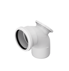 With rear access, ring seal socket/spigot. Fitted with a twist and lock access cap which can be secured with a No. 8 screw. (Soil system – Rear access bend 110 mm)...
