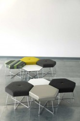 The hexagon is a natural repeating shape which can be used in either small clusters, straight lines, around bends or tucked into corners. This makes Pollen a truly dynamic seating and table system for any corporate, public or educational space. The tables and ...