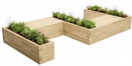 WoodBlocX Canisp Large S-Shape Planter Bench image