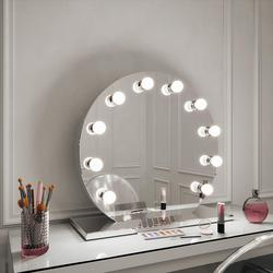 Halle Round Freestanding Hollywood Mirror image