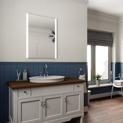 Edge LED Illuminated Bathroom Mirror with Lights, Demister Pad and Motion Sensor 80x60cm image