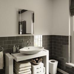 Ultra Slim LED Bathroom Mirror, Battery Operated 70x50cm image