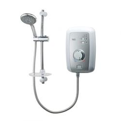 Perea Electric Shower-White/Brush Steel image