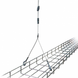 Single hanger with double hanging points, improves stability and centre of gravity • Ideal for cable tray or basket, or where access to services is required • One leg can be detached to allow access to cables, etc. • Available in a range of end-fixings, ...