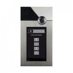 Stainless steel flush-mounted entrance panel with 7'' capacitive touch screen with impact-proof glass. IK08 certified. Configurable graphics (list of names with search, up to 60 virtual buttons (or 10 with images, name directory, access codes up to 8 digits). ...