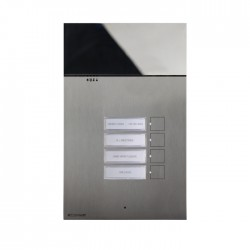 1-button flush-mounted entrance panel with 3 mm thick stainless steel plate; buttons integrated into the plate, with no mechanical movement. Name card holders with LED lighting and front access for name replacement. Allows management of visual call, conversati...