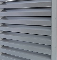 The DucoSlide SlimFrame series consists of sliding shutters that have their blades held between discreet SlimFrame type lateral guide rails at a fixed inclination angle.