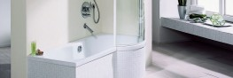With its softly curved inside and central outlet the popular BETTECORA bath and shower combination provides both bathing comfort and shower pleasure even in a small bathroom. The BETTECORA II shower screen, which swings inwards and outwards, is a perfect match...
